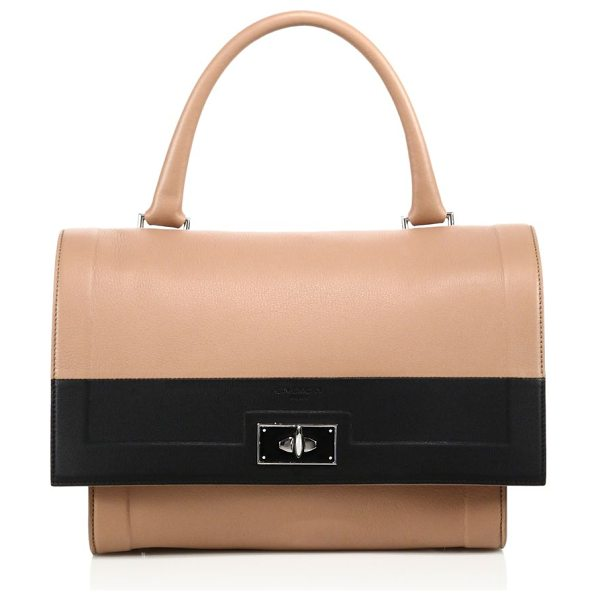 Givenchy Shark small two-tone leather satchel in nude-black - Minimalist two-tone design with signature shark...