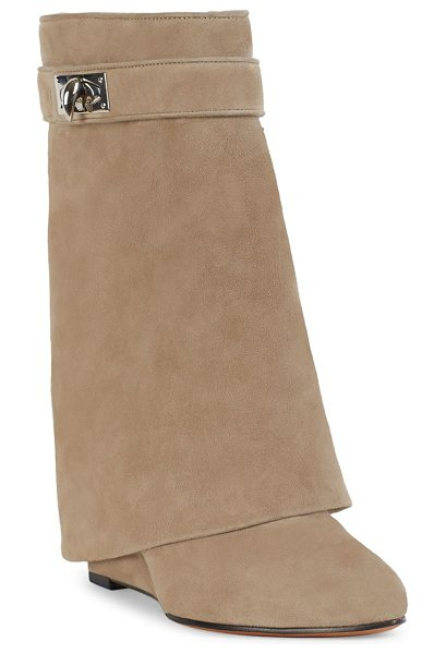 Givenchy sharklock suede wedge booties in beige camel - Rich suede wedges with signature sharklock. Self-covered...