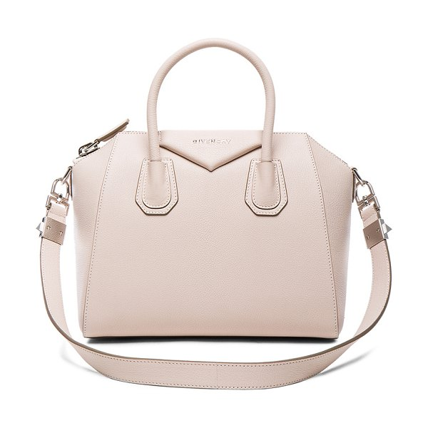 GIVENCHY Small Antigona - Goatskin leather with canvas lining and silver-tone...