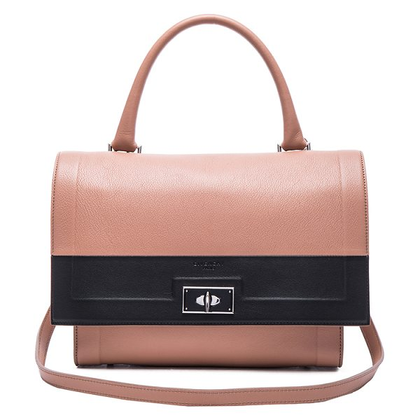 Givenchy Small contrast band leather shark bag in neutrals,pink - Calfskin leather with canvas lining and silver-tone...