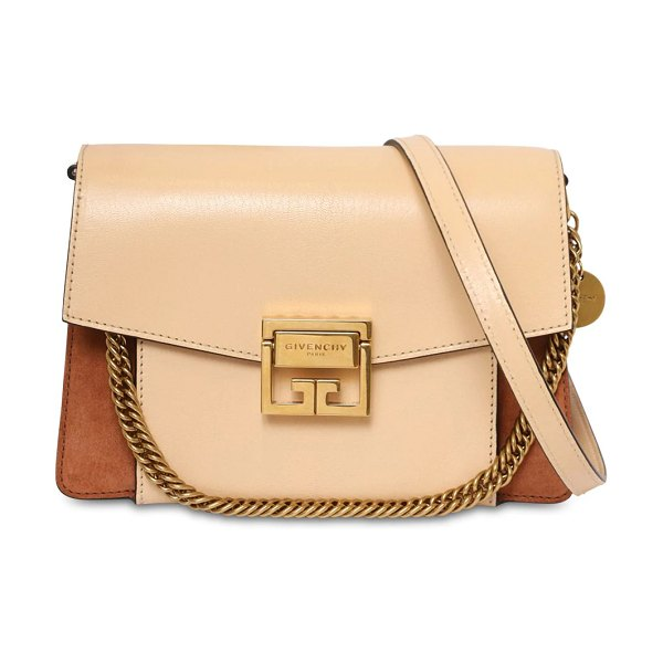 Givenchy Small gv3 leather & suede bag in beige,blush