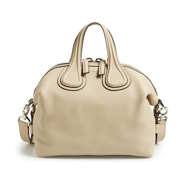 Givenchy Small nightingale leather satchel in beige buff - Glossy palladium hardware lends subtle embellishment to...