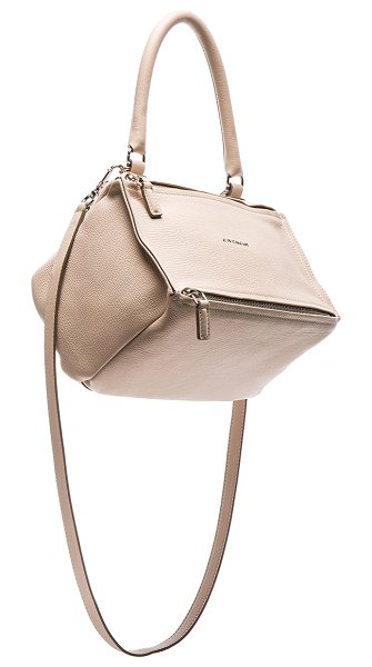 Givenchy Small Sugar Pandora in nude pink - Goatskin leather with canvas lining and silver-tone...