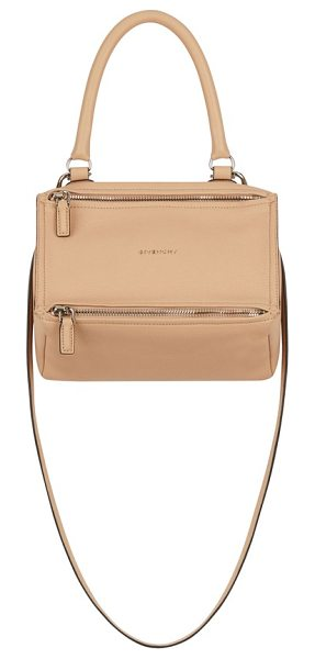 Givenchy 'small pandora' leather satchel in beige - Softly shining palladium hardware glints against the...