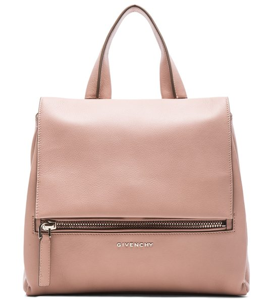 Givenchy Small pandora pure flap bag in pink - Calfskin leather with canvas lining and silver-tone...