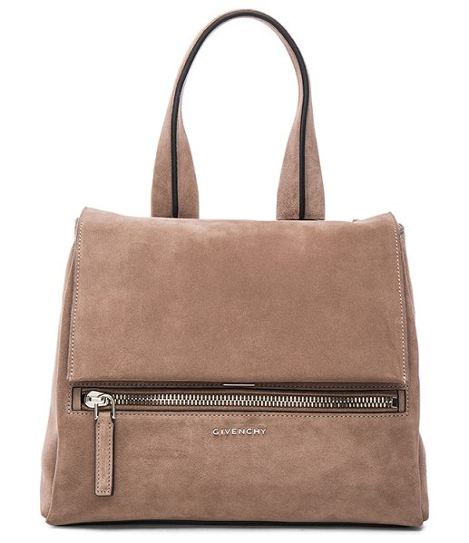 Givenchy Small suede pandora pure flap bag in gray,neutrals - Calfskin suede with canvas lining and silver-tone...
