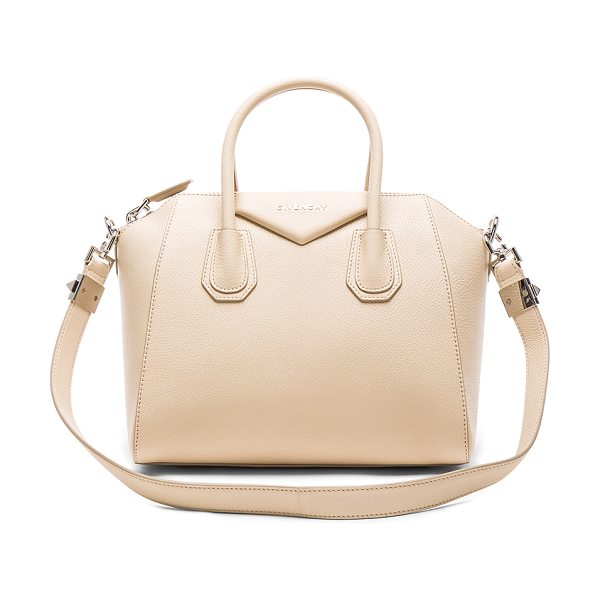 Givenchy Small Sugar Antigona in neutrals - Goatskin leather with canvas lining and silver-tone...