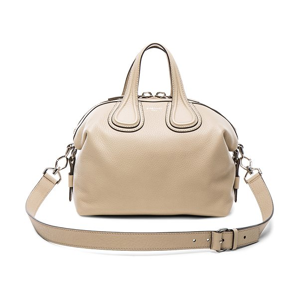 Givenchy Small waxy leather nightingale in neutrals - Calfskin leather with canvas lining and silver-tone...