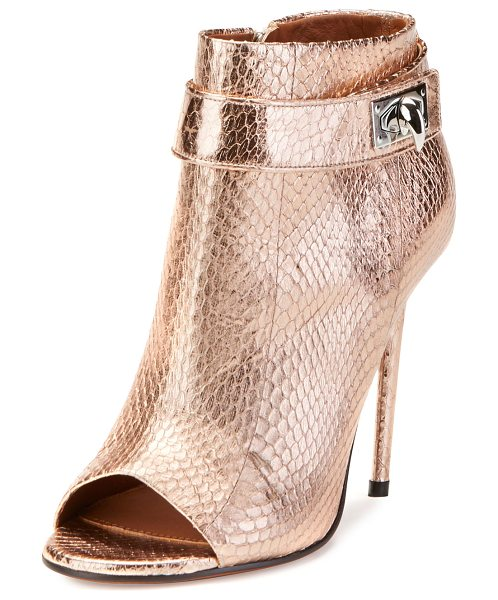 "Givenchy Snakeskin Shark-Lock Open-Toe Bootie in nude pink - Givenchy metallic snakeskin bootie. 4.3"" covered heel...."