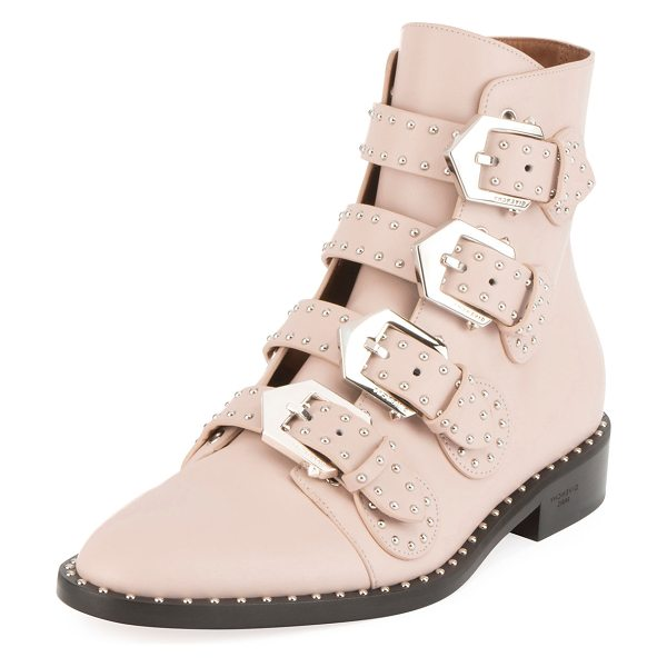 Givenchy Studded Leather Ankle Boot in skin - Givenchy ankle boot in studded leather. Flat stacked...
