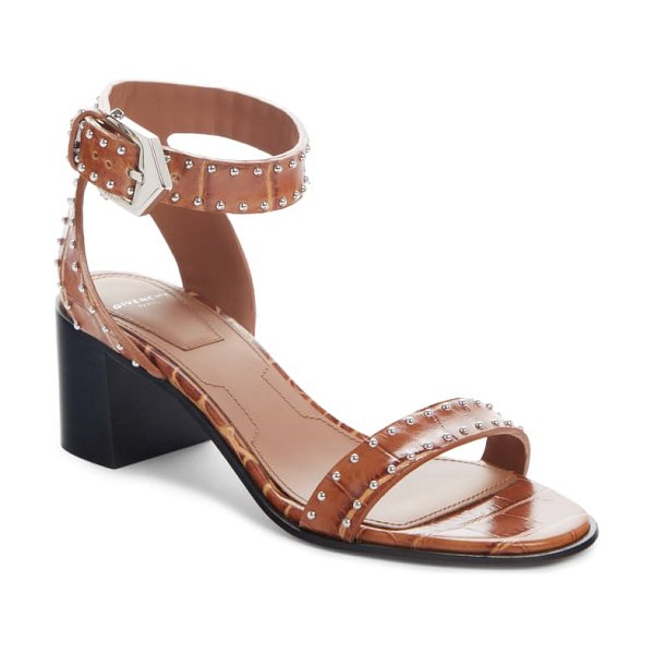 Givenchy studded croc embossed block heel sandal in brown