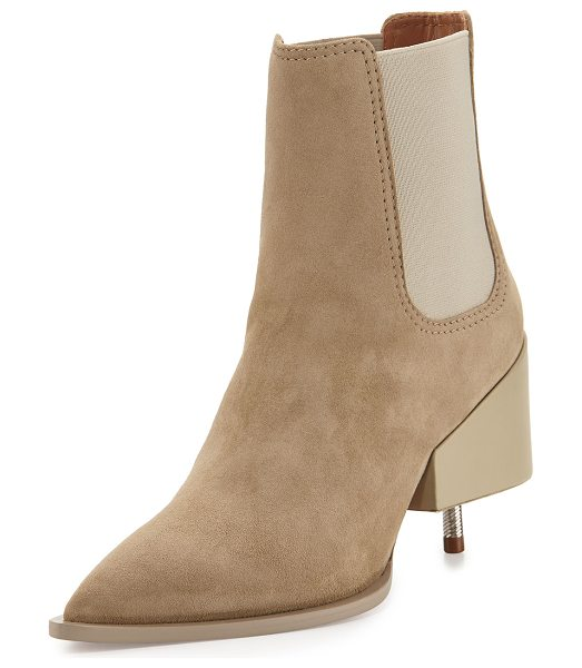 "GIVENCHY Suede Screw-Heel Chelsea Boot - Givenchy suede Chelsea boot. 3.5"" block/screw heel...."