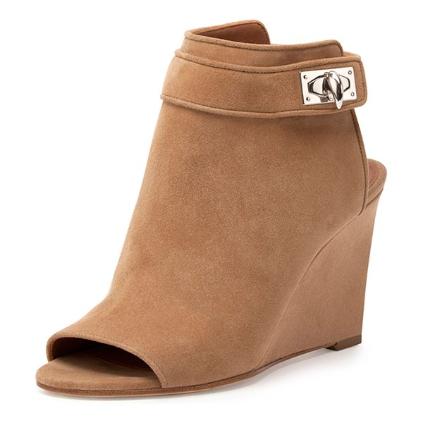 Givenchy Suede shark-lock peep-toe wedge bootie in beige - Givenchy suede bootie, finished with signature...