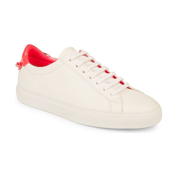 Givenchy urban street knots leather low-top sneakers in white pink - Leather sneaker with contrast heel and knotted detail....