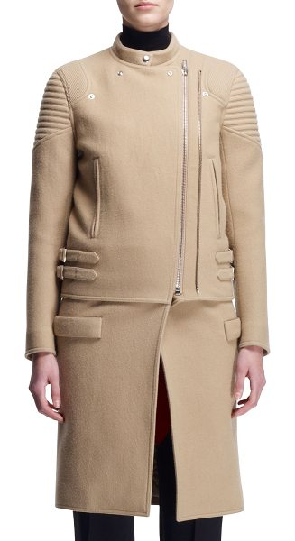 Givenchy Double-zip long moto coat in camel