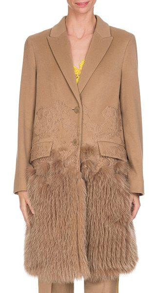 Givenchy Wool-Cashmere Lace Single-Breasted Coat with Fur Hem in camel - Givenchy coat with scroll lace details and dyed fox fur...