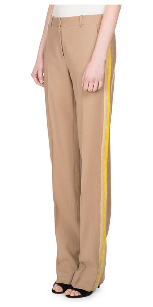 Givenchy Wool Track-Stripe Straight-Leg Trousers in camel - Givenchy lightweight trousers with track stripes along...