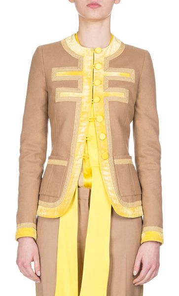 Givenchy Wool Velvet-trim Jacket in camel - Givenchy lightweight jacket with crushed velvet and...