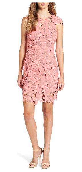Glamorous crochet body-con dress in dusty pink - A delicate overlay of guipure lace sweetens the...
