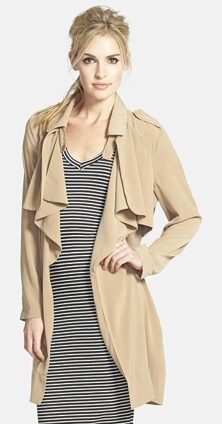 Glamorous drapey trench in tan - Lightweight stretch fabric contemporizes the look and...