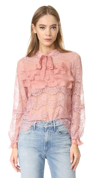 GLAMOROUS ruffle lace blouse in dusty pink - A sheer Glamorous blouse rendered delicate lace with...