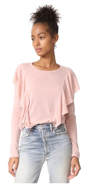 Glamorous ruffle pullover in dusty pink - Voluminous ruffles add a romantic embellishment to this...