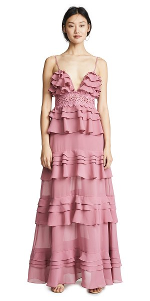 Glamorous true decadence ruffle gown in dusty pink - Fabric: Chiffon Crochet lace inset Layered overlay...