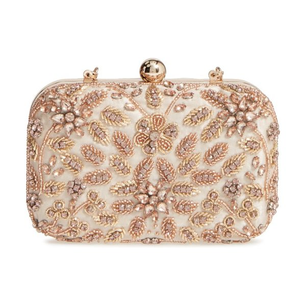 Glint beaded floral spray minaudiere in blush - Ornate beading and a garden of crystal-encrusted flowers...