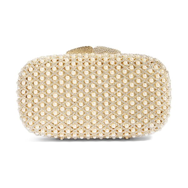 Glint crystal beaded minaudiere in gold - Pearlescent beads nestle in between the latticework of...