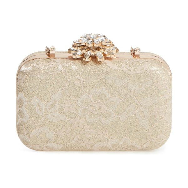GLINT crystal flower clasp lace minaudiere in gold - Shimmering metallic fabric peeks through the romantic...