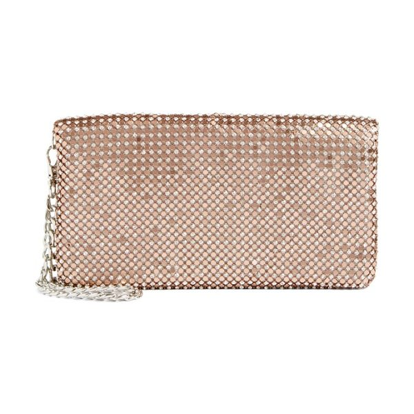 Glint crystal mesh foldover clutch in rose gold - Update your evening look with this crystal-mesh carryall...