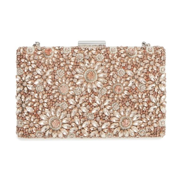 Glint floraison beaded frame clutch in blush - A lavish array of faceted crystals catches the light on...