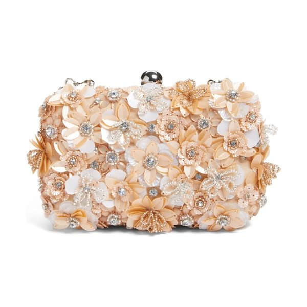 Glint floral applique minaudiere in blush - A garden of floral appliques encrusted with shimmering...
