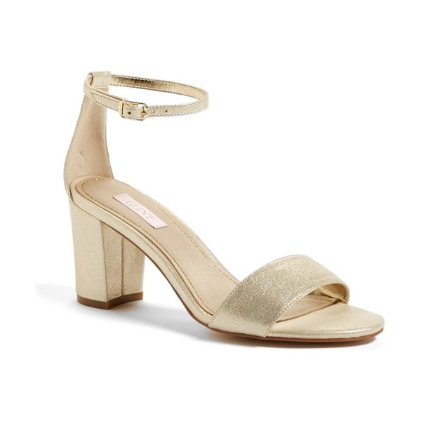 Glint lana block heel ankle strap sandal in platino metallic suede - A wrapped block heel gives just-right lift to a...