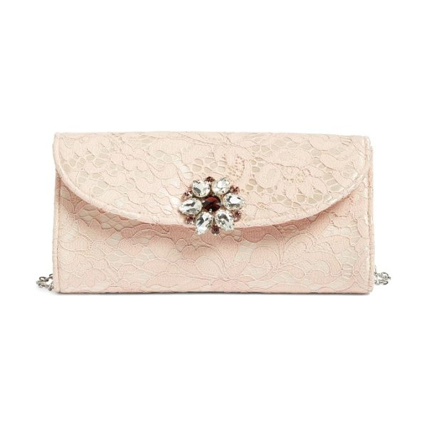 Glint jeweled envelope clutch in pink dust - Faceted stones sparkle at the flap of a streamlined...