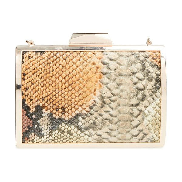 Glint Snake embossed minaudiere in tan/ snake - Polished metallic hardware sets off the snake-embossed...