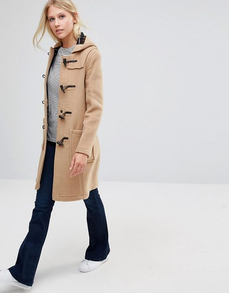 GLOVERALL Long Slim Duffle Coat in Camel - Coat by Gloverall, Made in England, Midweight wool-rich...