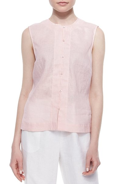 Go Silk Linen Button-Front Shell in soft pink - Go Silk airy, semisheer linen shell in your choice of...