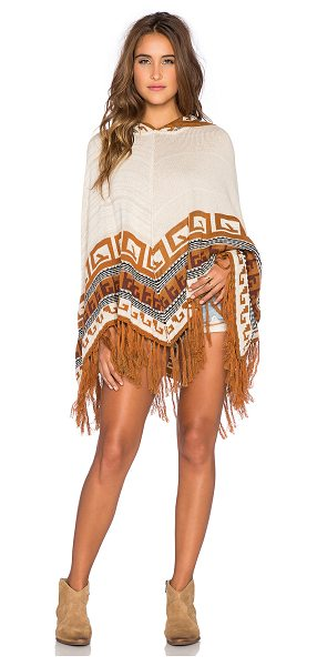 Goddis Maddie poncho in tan - 50% cotton 50% acrylic. Dry clean only. Fringe trim....