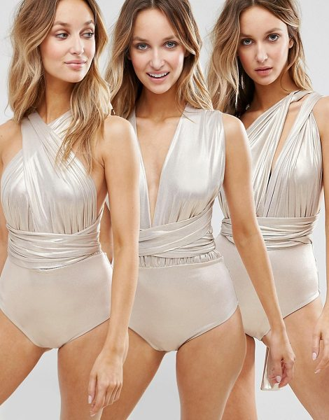 Goddiva Multiway Swimsuit in gold - Swimsuit by Goddiva, Stretch swim fabric, Metallic...