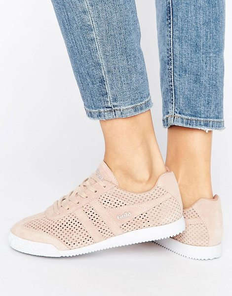GOLA harrier blush pink perforated suede sneakers in pink - Sneakers by Gola, Suede upper, Mesh panels, Lace-up...