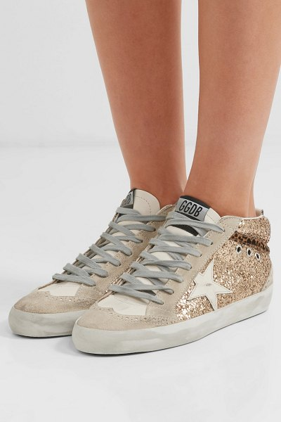 8234453581868b Golden Goose Deluxe Brand mid star glittered distressed leather and suede  sneakers in gold - EXCLUSIVE