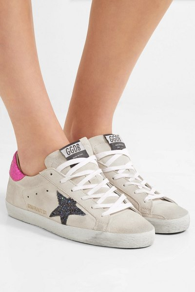 fba0033a85bd Golden Goose Deluxe Brand superstar leather-trimmed glittered distressed  suede sneakers in cream - EXCLUSIVE
