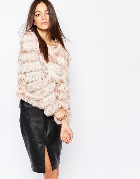 Goldie Falling down allover fringe sweater in nude - Sweater by Goldie All-over tiered fringing Boat neckline...