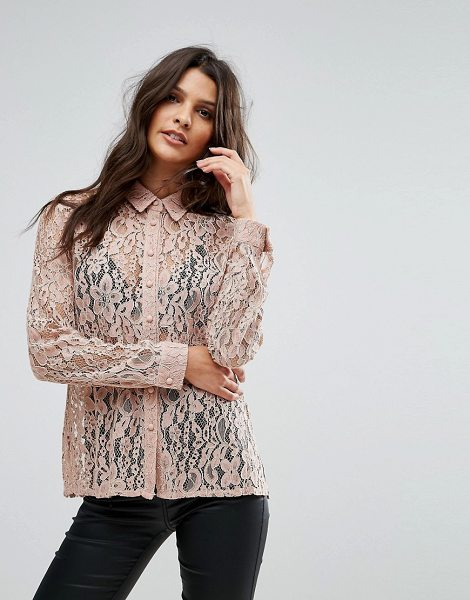 """Goldie hooked on you rose floral lace blouse in pink - """"""""Top by Goldie, Sheer lace, Point collar, Long sleeves,..."""