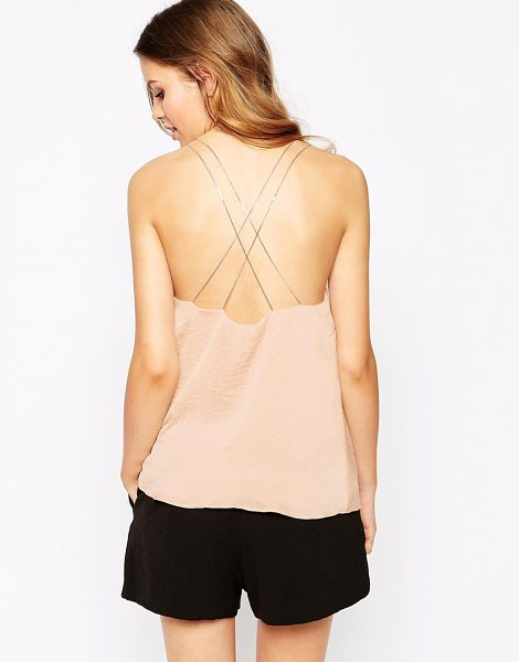 Goldie New rules cami top with chain straps in nude - Top by Goldie Lightweight woven fabric Lightly textured...