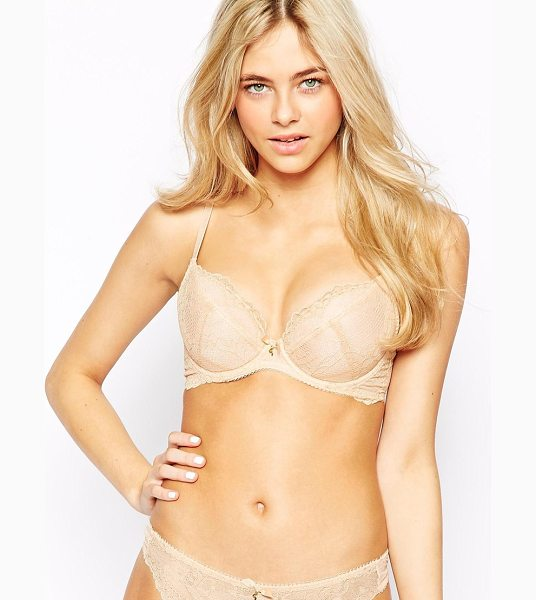 Gossard Superboost Lace Plunge Bra A in beige - Plunge bra by Gossard, Floral lace, Low centre front to...