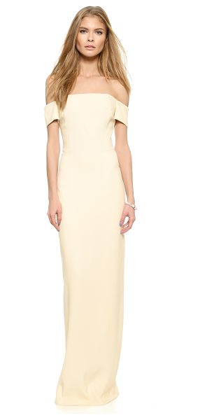GRACE Adrianna off the shoulder long dress - Tonal panels lend clean lines to the contoured profile...