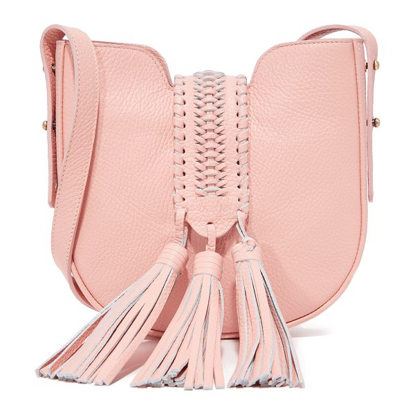 GRACE ATELIER DE LUX baby bohbo bag in rose - A braided magnetic flap with large tassels crosses the...