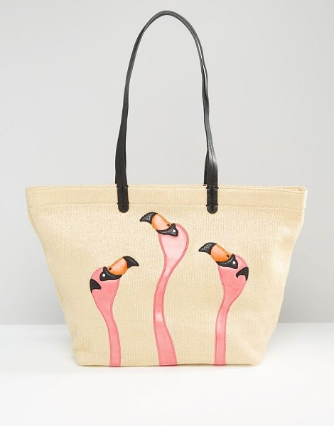 Gracie Roberts Flamingo shopper tote bag in beige - Cart by Gracie Roberts, Faux leather, Twin handles, Open...